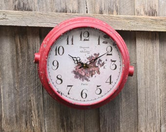 Large Vintage Inspired Shabby Red Wall Clock