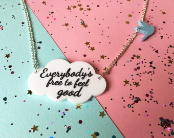 Cloud Necklace - Feel Good Necklace - 90's Song Lyrics - Motivation Necklace - Silver Cloud - Freedom Jewellery - Pride Jewellery - Birds