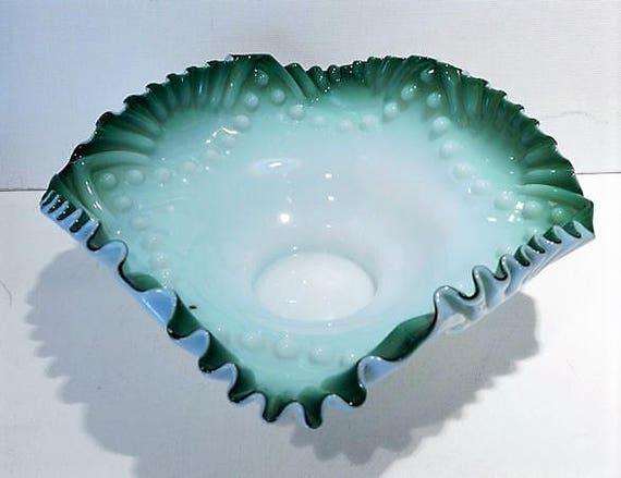 Art Glass Brides Bowl / Antique Victorian Brides Basket