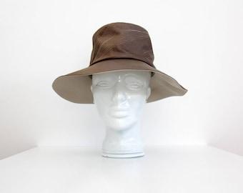 Vintage Hat // 60's 70's Brown Stitched Floppy Hat