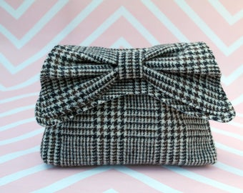 Audrey - Brown & Cream Abraham Moon Tweed Clutch Bag - evening purse - bow - formal - handmade