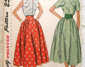 """Vintage 50s Summer Blouse, Full Skirt. Simplicity 3200 Sewing Pattern. Size 14  Bust 32"""""""
