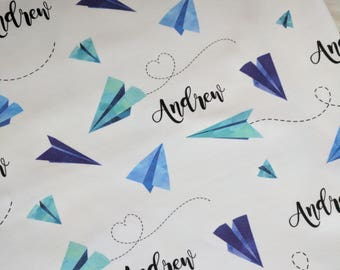 Personalized baby name paper airplane swaddle design blanket: baby and toddler personalized name newborn hospital gift baby shower gift