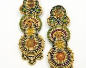 Soutache Earrings , embroiderd textile jewels
