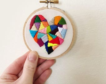 Geometric Heart/ Embroidery Hoop Art/ Hand Embroidery/ Embroidery Design/Valentines Day Gift/ 3 Inch Hoop/ Fiber Art/ Embroidery Wall Decor
