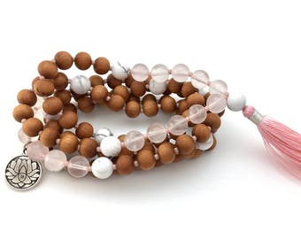 Loving Lotus Mala, with lotus charm, Sandalwood, Howlite & Rose Quartz, hand-made, 108 bead mala