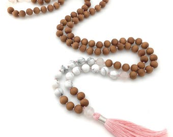 Peaceful Lotus Mala with Sandalwood, Rose Quartz & Howlite, lotus charm, hand-made, 108 bead mala