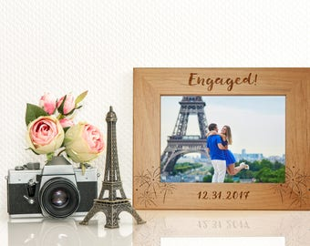 engaged picture frame engagement gift for couple personalized frame new years eve - Etsy Frames