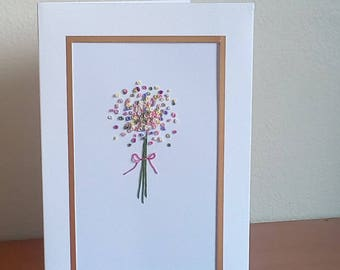 Bouquet Hand Embroidered Card
