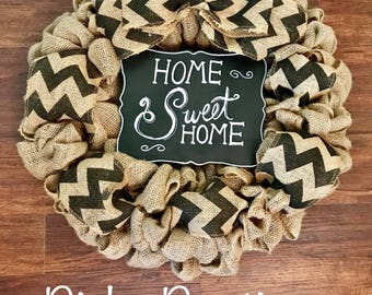 "Chevron Burlap wreath ""Home Sweet Home"""