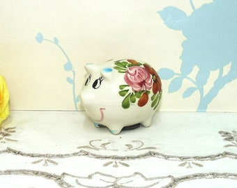 Piggy Bank Ceramic Figurine, Money Box, Coin Saver, China Pig Ornament, Kitsch, Collectable, Ornament, niknak, hand painted, housewares