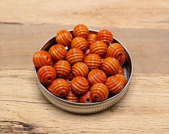 Candy Corn Orange Ribbed Lampwork Spacer Beads