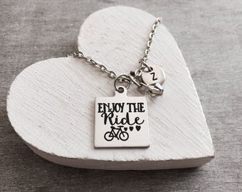 Enjoy the ride, Bike, Enjoy the Journey, Cycling Enthusiasts, gift for cycler, cycling, Biking, cyclist, Silver Necklace, Charm Necklace