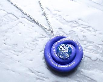 Geometric Necklace - Circle Necklace - Purple necklace - fantasy Necklace - Fairytale Pendant - Geometric pendant - Bohemian pendant