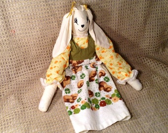 Handmade Hanging Easter Bunny Towel - Girl Rabbit Top with Hanging Towel Bottom - Easter, Springtime Kitchen Decor