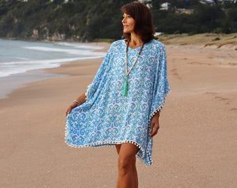 Beach kaftan dress - Teal blue and pale lime tribal print beach kaftan, cover up with white pom pom trim - perfect beach cover up