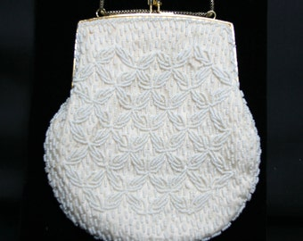 Vintage Beaded Evening Bag Ivory Bridal Wedding Purse Hand Beaded Seed Pearl Satin Lining Chain Kiss Lock Closure