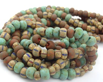 31/0 Aged Opaque Striped Picasso Czech Glass Seed Bead  3 Strands