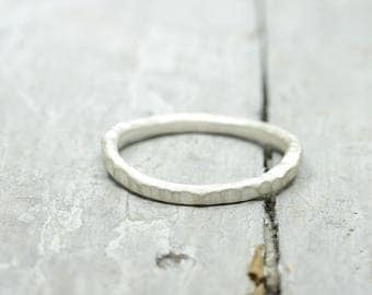 Silver ring stacking ring with structure, white boiled, collection ring, 2 mm, 925 sterling silver, organic shape
