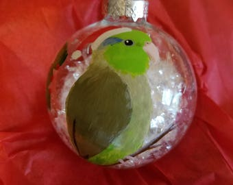 Green parrotlet Christmas ornament