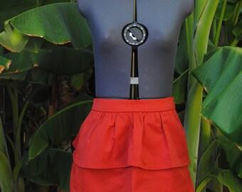 Retro Red Ruffle Bodycon Mini Skirt // Women's Size US 6, EUR 36