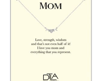 DTLA Mom Necklace in Sterling Silver with Loving Mother Message Card Gift - CZ Heart O