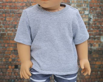 American Boy Doll Clothes - Light Heather Gray BOY Short Sleeve TEE for 18 Inch Doll