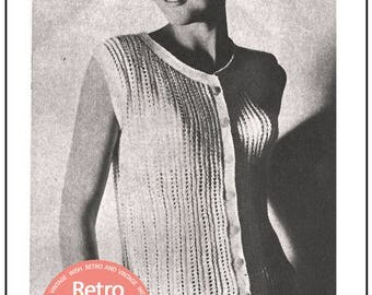 Sixties Retro Summer Blouse Knitting Pattern   - PDF Instant Download