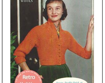 1950's Cardigan  Vintage Knitting Pattern - PDF Instant Download