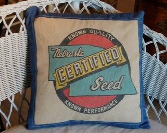 Vintage Seed Sack Pillow Cover - blue denim