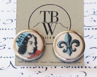 Tablewear Jeanne Mance earrings , historical earrings,  co-founder Montreal, 375 ième Montréal, souvenir Montreal, feminist illustration