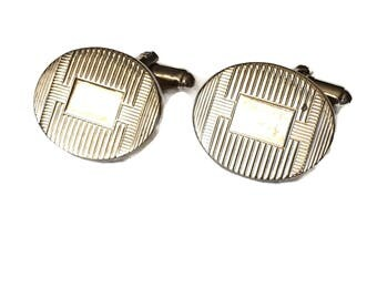 Gold Tone Cufflinks Oval Etched Style Vintage Cuff Links Bent Shank, Men's Accessories, Groomsman, Football Shiny Gold Cufflinks