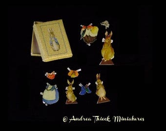 Miniature Peter Rabbit Paper Doll - Artisan Handmade Miniature 1:12 scale