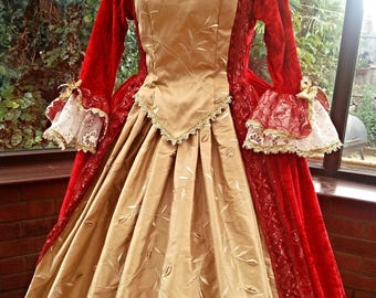 Marie Antoinette gown made to the likeness of the picture Custom made gown with hooped petticote rococo gothic gown reinactment