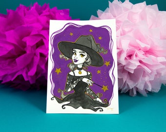 Charming Witch - Original Gouache Illustration - Original Painting - Ink and Gold