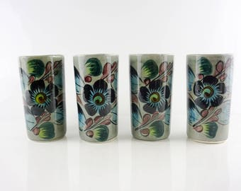 Vintage Tonala Mexico hand painted tumblers with floral design signed RS