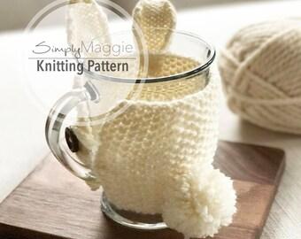 Knitting Pattern // Bunny Mug Cozy // Knit Cozy // Easter Knitting Pattern // Easter Bunny // Beginner's Pattern // Simply Maggie