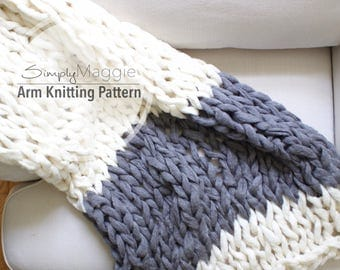 """Arm Knitting Pattern // Color Block Throw // Chunky Throw // Knit Blanket  // Beginner's Pattern // Simply Maggie // 55"""" by 36"""""""