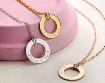 Personalised Circle Necklace - Message Necklace - Name Necklace - Circle Necklace - Gift For Her - NC20