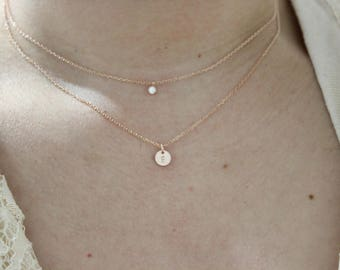 Diamond Solitaire necklace, Tiny initial necklace, rose gold necklace, delicate layer necklace, minimal necklace, choker , dainty necklace,