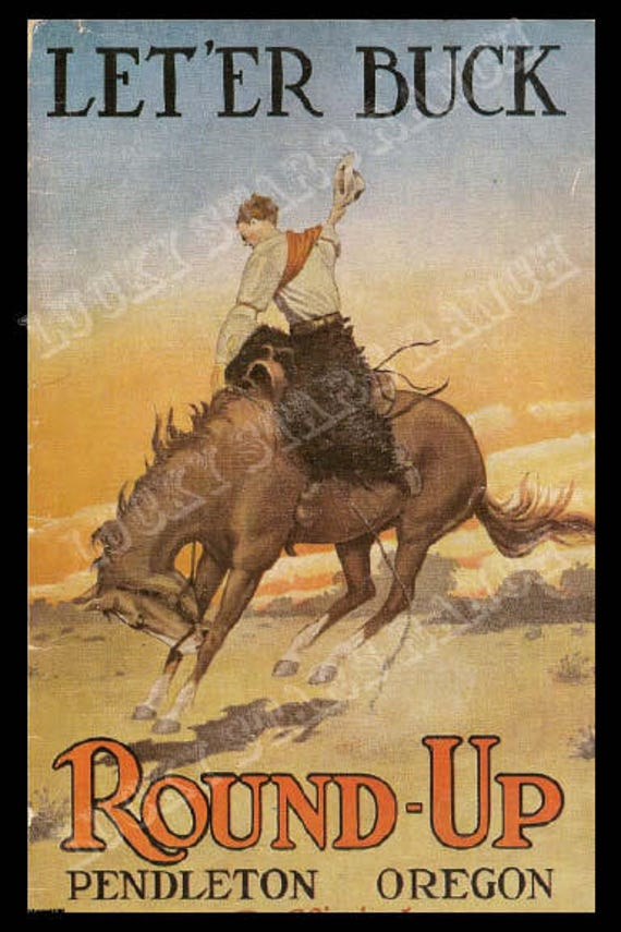 poster of pendleton round up rodeo cowboy up with this 18x24