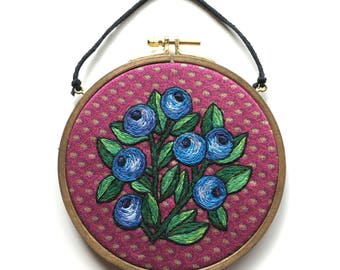Blueberry embroidery hoop