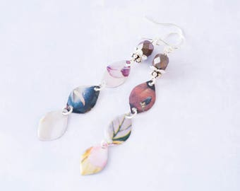 Long Mismatched Patchwork Tin Earrings with Faceted Metallic Beads and Silver Bead Caps, Tin Jewelry