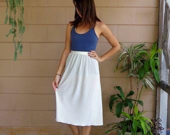 Vintage Midi Skirt / Accordion Pleats Cream / Medium