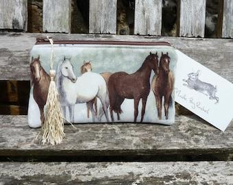 Handmade Horses Makeup Bag Clutch Purse Cotton Fabric Pencil Case Padded Lined Tassel Trim