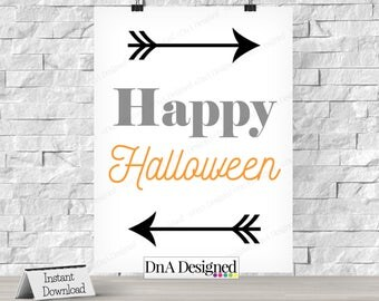 Happy Halloween Digital Print - Instant Download - All Hallows Eve - Trick or Treat - Photo Prop - Party Supplies - DIY Print - {4HS}