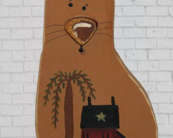 Primitive wooden cat.  Saltbox house with Willow Tree and Sheep