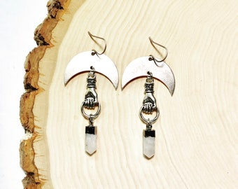 Silver Lasso the Moon Earrings with Crescents, Hands, and Moonstone Points