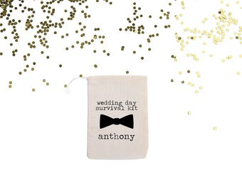 Wedding Day Survival Kit Bag Personalized Muslin Bag// Groomsman // Groom Wedding Day Bag