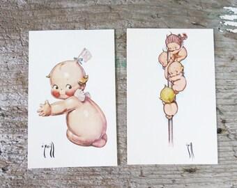 """2 Kewpie Postcards Rose O'neill Kewpie babies - 5 1/2"""" x 3 1/2"""" UNUSED 1976"""